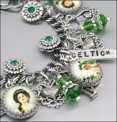 Celtic Jewelry Silver Charm Bracelet Irish by BlackberryDesigns, $87.00