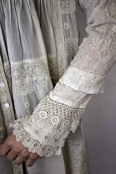 Long Muslin Sleeve with Lace, Pleats & Frill at Cuff ....