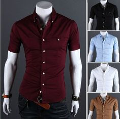 Free Shipping 2013 spring and summer Slim solid color metal buckle men's  shirt  US Size:XS,S,M,L      0151 $8.90 - 12.96