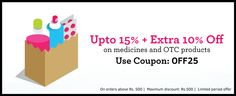 Get Flat 15% off   Extra 10% off on pharmacy medicines. T&C: This offer is applicable on minimum purchase of Rs.500. Maximum discount is Rs.500.