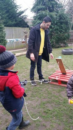 Making a catapult at Chadwell Pre-school
