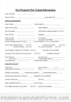 Sample Printable New Property Or Tenant Info 3 Form