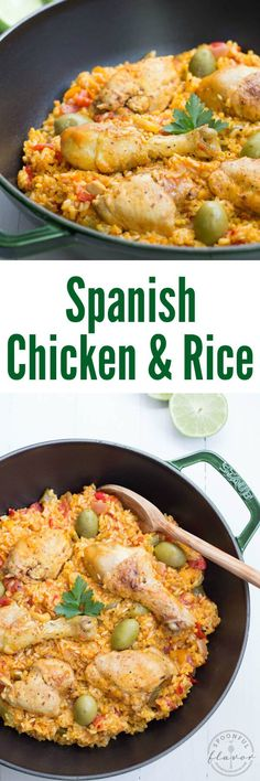 Spanish Chicken and Rice is a meal perfect for the entire family. Arroz con Pollo is made with chicken, onions, peppers, tomatoes, spices and more!