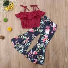 Off Shoulder Crops Ruffled Straped Solid T-Shirts   Flamingo Flare Pants #toddler #moms #parenting #family #fashion #clothing #clothes #outfits #summer