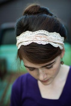 I want a lovely lace headband, or maybe a couple lovely lace headbands.... caramel Cream stretch Lace headband-- Classic Garlands of Grace hair accessory