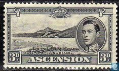 Ascension Island - King George VI with landscape 1944