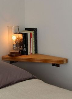 corner shelf tiny bedroom hack