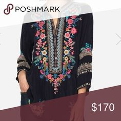 JW Navy Blouse Embroidered Johnny Was Blouse in deep navy! Johnny Was Tops