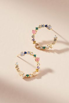 Slide View: 1: Sierra Hooped Post Earrings #BeautifulFineNecklaces