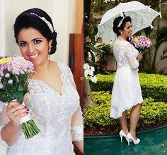 2016 V neck 3/4 Sleeves Short Summer Wedding Dress Bridal Gown 6 8 10 12 14 16
