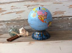 Mid Century Metal Globe Piggy Bank - Vintage Money Saver by the Ohio Art Company on Sale by happydayantiques on Etsy