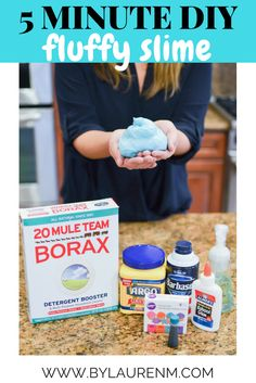 quick, 5 minute fluffy slime recipe - You'll have so much fun playing with this easy DIY slime!   www.bylaurenm.com