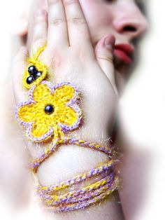 Yellow and lilac crochet lace fingerless by emofoFashionDesing, $10.00