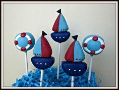 sailboats and inner tubes Nautical Cake Pops, Nautical Baby, Sailboat Cake, Cake Pop Designs, Birthday Cake Pops, Marshmallow Treats, Cakepops, Themed Cakes, Truffles