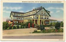 B2805 Mountain View Hotel Greensburg PA Lincoln Hwy 1936 Teich Linen PC 6A-H2273