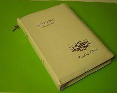 Holy Bible Concordance Friendship Edition KJV White Leather Zipper Closure 1974