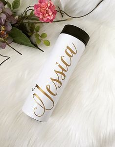 Travel Tumbler - 16 oz. Travel Tumbler -- Stainless Steel -- Bridesmaid Gift -- Bridal Party -- Personalized -- Calligraphy