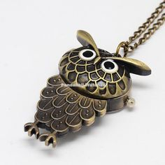 AliUSAExpressAntique Bronze Halloween Pocket Watch Jewelry Gifts Alloy Owl Design Openable Pendant Necklaces Quartz Watches with Chains   AliUSAExpress
