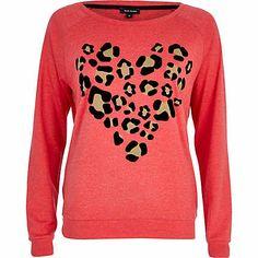 Red leopard print heart dolman top - sweaters / hoodies - t shirts / tanks / sweats - women
