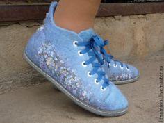 """Купить Кеды """"После дождя"""" - голубой, кеды, кеды с рисунком, Кеды на заказ, тапочки"""