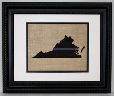 """POLICE Gift - Thin Blue Line across ANY US State, State Police, Law Enforcement, Deputy, State Trooper - Home Decor on Burlap. PRINT ONLY - frame is not included. We make these easy to frame. They are made to fit in a frame that is matted to 8""""x10"""" unless other size is requested. POLICE Thin Blue Line across ANY US State, State Police, Law Enforcement, Deputy, State Trooper - Home Decor on Burlap Made by a Police Officer for Officers. Thank You for your service!!..."""