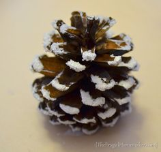 how to make the snowy pinecone. Christmas Evergreen Wreath tutorial | The Frugal Homemaker