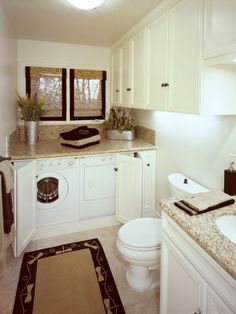 Classic Chic Home: Lovely Laundry Rooms. Beautiful way to dress up a laundry room that is in your bathroom! Laundry Bathroom Combo, Laundry Room Storage, Downstairs Bathroom, Bathroom Renos, Small Bathroom, Master Bathroom, Laundry Rooms, White Bathroom, Laundry Area