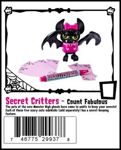 Count Fabulous Secret Creepers Monster High Pet - Count Fabulous is Draculaura's pet bat.