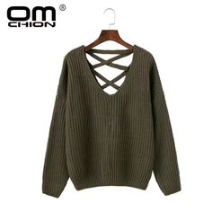 OMCHION 2017 Autumn Winter Women Sweaters And Pullovers Backless Lace Up Sexy Sweater Loose Hollow Out Knitting Jumper QMY61  #OMCHION #sweaters #women_clothing #stylish_sweater #style #fashion