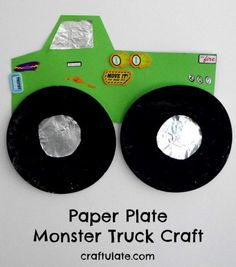 This paper plate monster truck is a fun craft for any child who loves these big-wheeled stunt trucks! Uses paper plates, card, foil, paint and stickers.