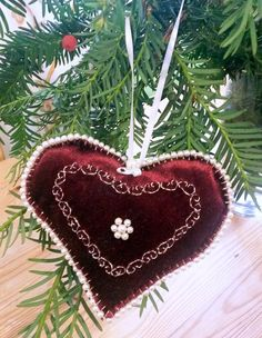 Christmas ornament Burgundy hanging heart Hand by MonaSaadHandmade