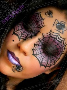 Purple & Black Smokey Spider Web Eyes Looks like it'd be fun to do with your friends!