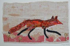 Fox. .Unframed appliqued and hand embroidered fox on very old quilt fragment