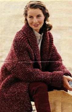 f036484d89a9c9 Instant Download PDF Vintage Knitting Pattern to make A Ladies 3 4 Length  Quick Easy Baggy Chunky Long Cardigan Coat or Jacket