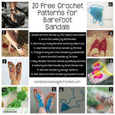 20 Free Crochet Patterns for Barefoot Sandals @OombawkaDesign