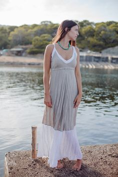 I love how simple this is.  I could wear this to the beach, out to lunch or add a belt, shoes and jewelry and head out for the evening  Maxi Dress in Natural Linen with White by azulsol