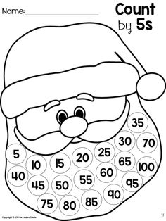 Use cotton balls to skip count by 5s to 100.  Glue them onto Santa's beard for an easy to make math activity!  FREE template included in link!