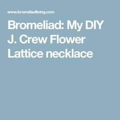 Bromeliad: My DIY J. Crew Flower Lattice necklace