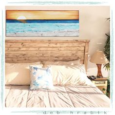 Deb Hrabik of Lake Girl Paints shows you how you can create a sensational ocean beach painting for your home. A sunset over the sea seems to be a good idea for a bedroom! Featured on Completely Coastal. Sea Bedrooms, Coastal Bedrooms, Abstract Ocean Painting, Ocean Paintings, Watercolor Paintings, Beach Art, Sunset Beach, Ocean Beach, Above Bed