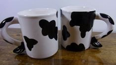 Taiwan 1992 B.W. Dairy Cattle Coffee Mug Cup Black White Tail Handle Vintage NEW #TaiwanBW #AllOccasions