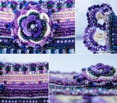 Etsy の Crochet Beaded Bracelet Cuff. Crochet by KaterinaDimitrova