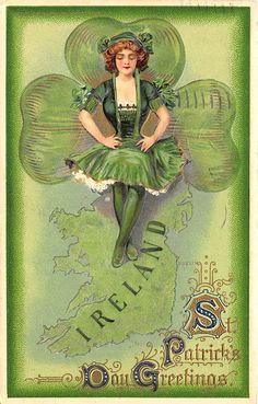 Artist Schmucker Ireland Map Beautiful Woman Embossed St Patrick's Day Postcard | eBay