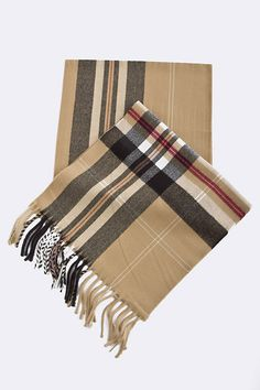 Love this Wide checked tan scarf