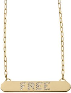 """Jennifer Fisher """"Free"""" Tag Necklace  xxFacets Jewelry Blog Jewelry Auctions, Jennifer Fisher, Gold Necklace, Blog, Free, Gold Pendant Necklace, Blogging"""