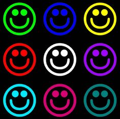 Stoffparade: Smileys Rainbow Colors, Bright Colors, Smiley Faces, Smileys, All Smiles, Just Smile, Emoticon, Funny Faces, Peace