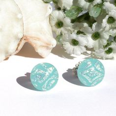 Small Dichroic Glass Stud Earrings Fused Glass by IntoTheLight