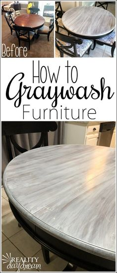 Farmhouse Graywash Technique - Reality Daydream- Learn how to graywash furniture… it's suuuuuper easy! {Reality Daydream} Learn how to graywash furniture… it's suuuuuper easy! Refurbished Furniture, Farmhouse Furniture, Repurposed Furniture, Farmhouse Decor, Rustic Painted Furniture, Antique Furniture, Painting Metal Furniture, Chalkboard Paint Furniture, Farmhouse Coffee Tables