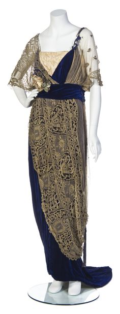 A Maison Worth Cobalt Blue Silk Velvet and Gold Lace Gown