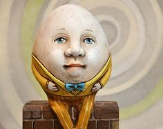 Humpty Dumpty Anthropomorphic Egg Original Hand Painted Easter Folk Art Doll Sculpture OOAK