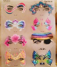 Love my #trainingtriedandtested boards by Sally-Ann Lynch #facepaint #facepainting #practiceboard #pirate #butterfly #rainbow #rose #flowers #monster #peacock #mermaid #sillyfarm #globalcolours